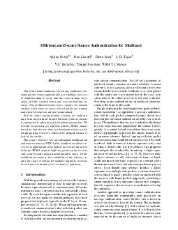Efcient and Secure Source Authentication for Multicast Adrian Perrig y Ran Canetti Dawn Song J