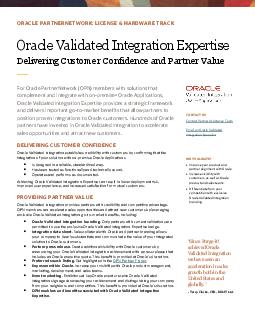 Oracle Validated Integration For Oracle PartnerNetwork members with solutions that complement and integrate with Oracle Applications Oracle Validated Integration provides a strategic framework and de PowerPoint PPT Presentation