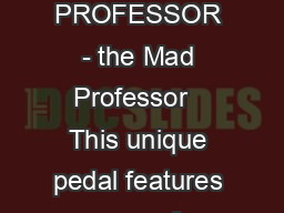 MAD PROFESSOR - the Mad Professor   This unique pedal features one of