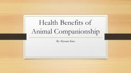 Health Benefits of Animal Companionship