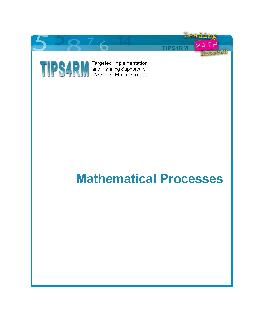 TIPSRM Mathematical Processes  Mathematical Processes Problem Solving Reasoning and Proving Reflecting Selecting Tools and Com putational Strategies Connecting Representing Communicating Context Why