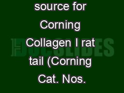 What is the source for Corning Collagen I rat tail (Corning Cat. Nos.