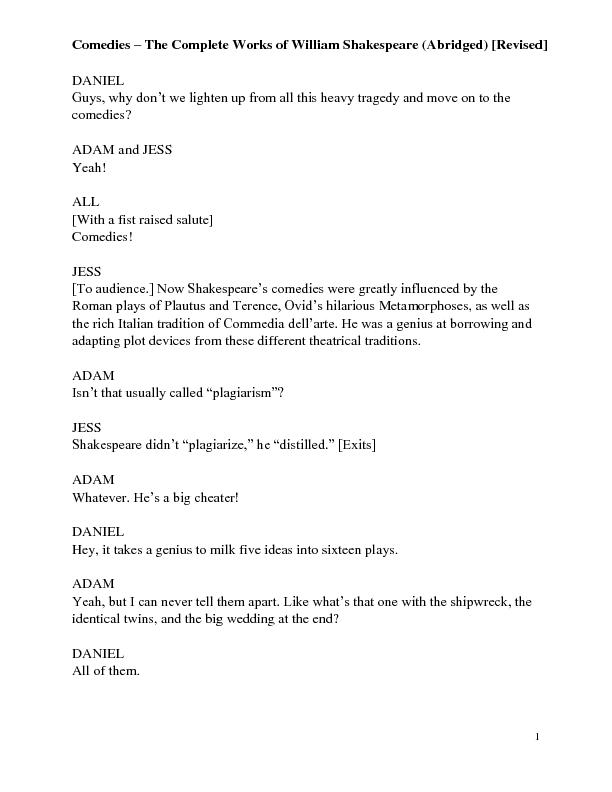 the complete works of william shakespeare abridged revised script pdf