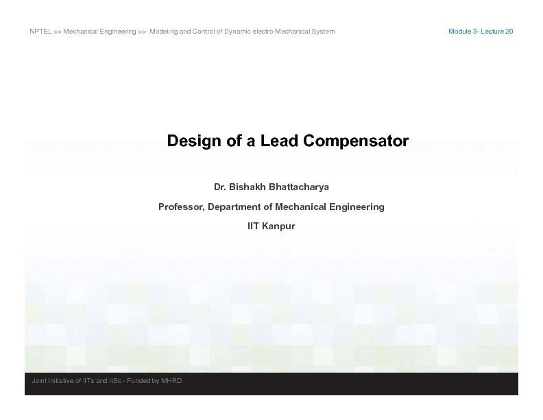 NPTEL  Mechanical Engineering   Modeling and Control of Dynamic elec
