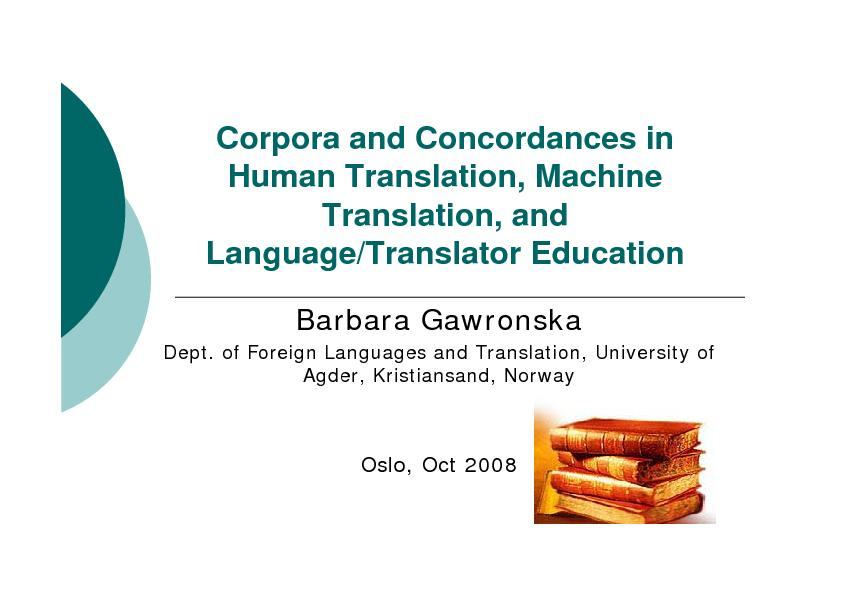 Corporaand Concordancesin Dept. ofForeignLanguages and Agder, Kristian