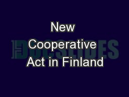 New Cooperative Act in Finland