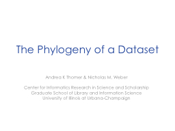 The Phylogeny of a Dataset PowerPoint PPT Presentation