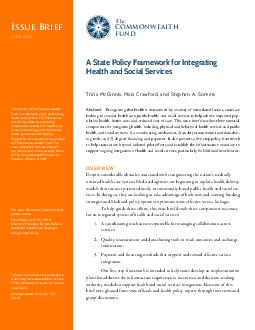 Issue Brief Th COMMONWEAL TH FUND Issue Brief JULY  Recognizing that health is determined by a variety of interrelated factors states are looking to connect health care public health and social servi