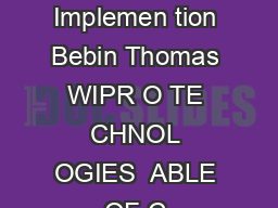 ole of S ems In egr or in Smart Me ering Implemen tion Bebin Thomas WIPR O TE CHNOL OGIES  ABLE OF C ONTENTS In tr oduction
