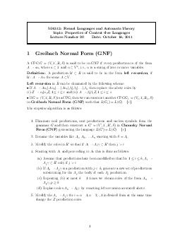 MA Formal Languages and Automata Theory Topic Properties of Contextfree Languages Lecture Number  Date October    Greibach Normal Form GNF A CFG   V T R S  is said to be in GNF if every production is