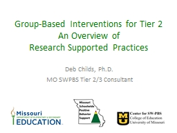 Group-Based Interventions for Tier 2