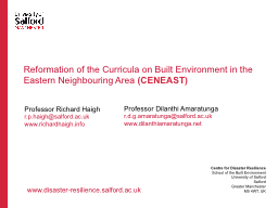 Reformation of the Curricula on Built Environment in the Ea