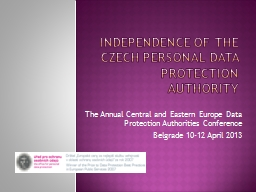 Independence of The Czech Personal Data Protection