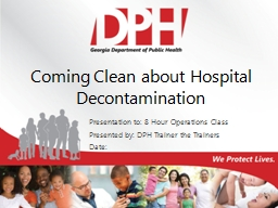 Coming Clean about Hospital Decontamination