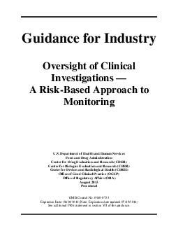Guidance for Industry Oversight of Clinical Investigations A RiskBased Approach to Monitoring U