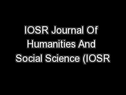 IOSR Journal Of Humanities And Social Science (IOSR