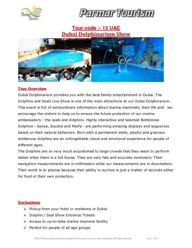 Note: All tours documents are prepared by Parmar Tours for their custo