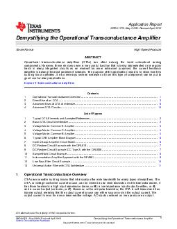 Application Report SBOAA May  Revised April  Demystifying the Operational Transconductance Amplifier Xavier Ramus