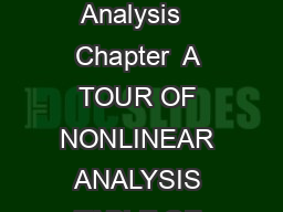 ATourof Nonlinear Analysis   Chapter  A TOUR OF NONLINEAR ANALYSIS TABLE OF CONTENTS Page