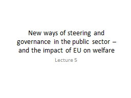 New ways of steering and governance in the public sector
