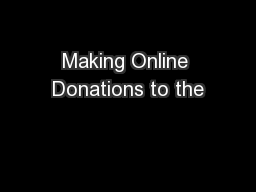 Making Online Donations to the