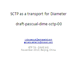 SCTP as a transport for Diameter