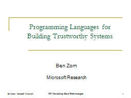 Programming Languages for