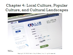 Chapter 4: Local Culture, Popular Culture, and Cultural Lan