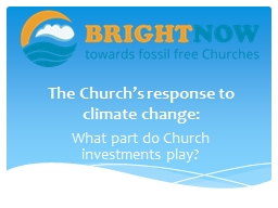 The Church's response to climate change: