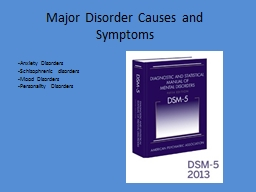 Major Disorder Causes and Symptoms