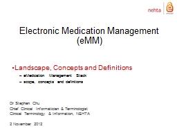 Electronic Medication Management (