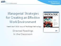 Managerial Strategies for Creating an Effective Work En PowerPoint PPT Presentation