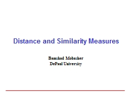 Distance and Similarity Measures PowerPoint PPT Presentation