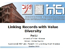 Linking Records with Value Diversity PowerPoint PPT Presentation