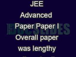 Resonance Students Review about JEE Advanced  Paper Paper I Overall paper was lengthy otherwise it was good