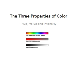 The Three Properties of Color