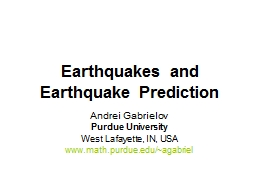 Earthquakes and Earthquake Prediction PowerPoint Presentation, PPT - DocSlides