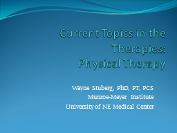 Current Topics in the Therapies: