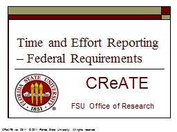 Time and Effort Reporting – Federal Requirements