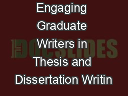 Engaging Graduate Writers in Thesis and Dissertation Writin