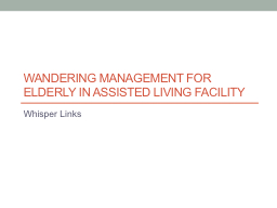 Wandering Management for Elderly in Assisted Living Facilit