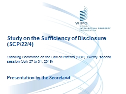 Study on the Sufficiency of Disclosure (SCP/22/4)