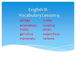 English III -