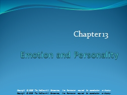 Emotion and Personality