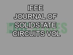 IEEE JOURNAL OF SOLIDSTATE CIRCUITS VOL