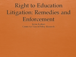 Right to Education Litigation: Remedies and Enforcement
