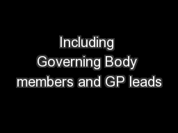 Including Governing Body members and GP leads