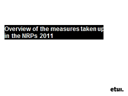 Overview of the measures taken up in the NRPs 2011