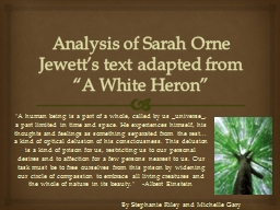 """Analysis of Sarah Orne Jewett's text adapted from """"A Wh"""