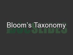 Bloom's Taxonomy PowerPoint PPT Presentation